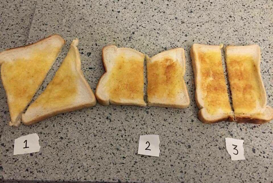 How do you cut your toast?