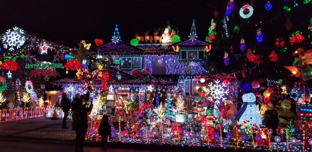 Christmas light hunting with my family.