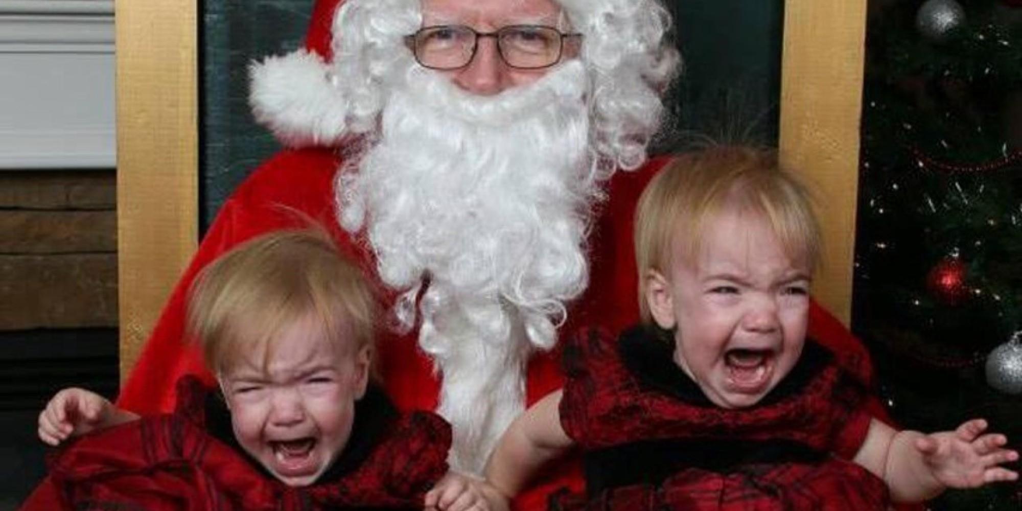 Santa and screaming kids.