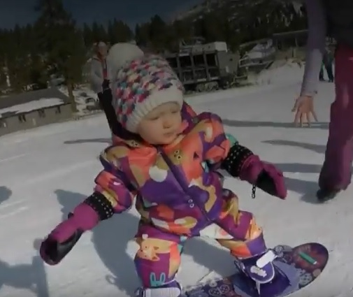Video of ONE YEAR OLD Snowboarding… Wow!