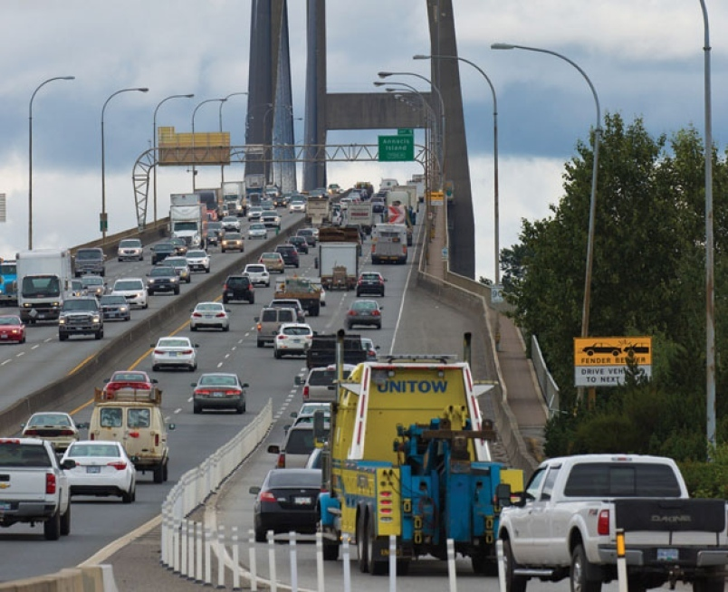 Lower speeds, overnight lane closures begin on Alex Fraser Bridge