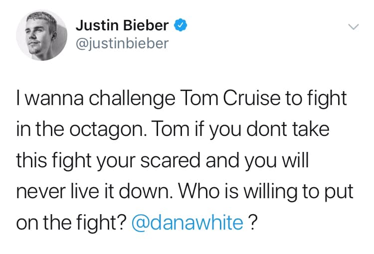Justin Bieber vs Tom Cruise… who will win?!