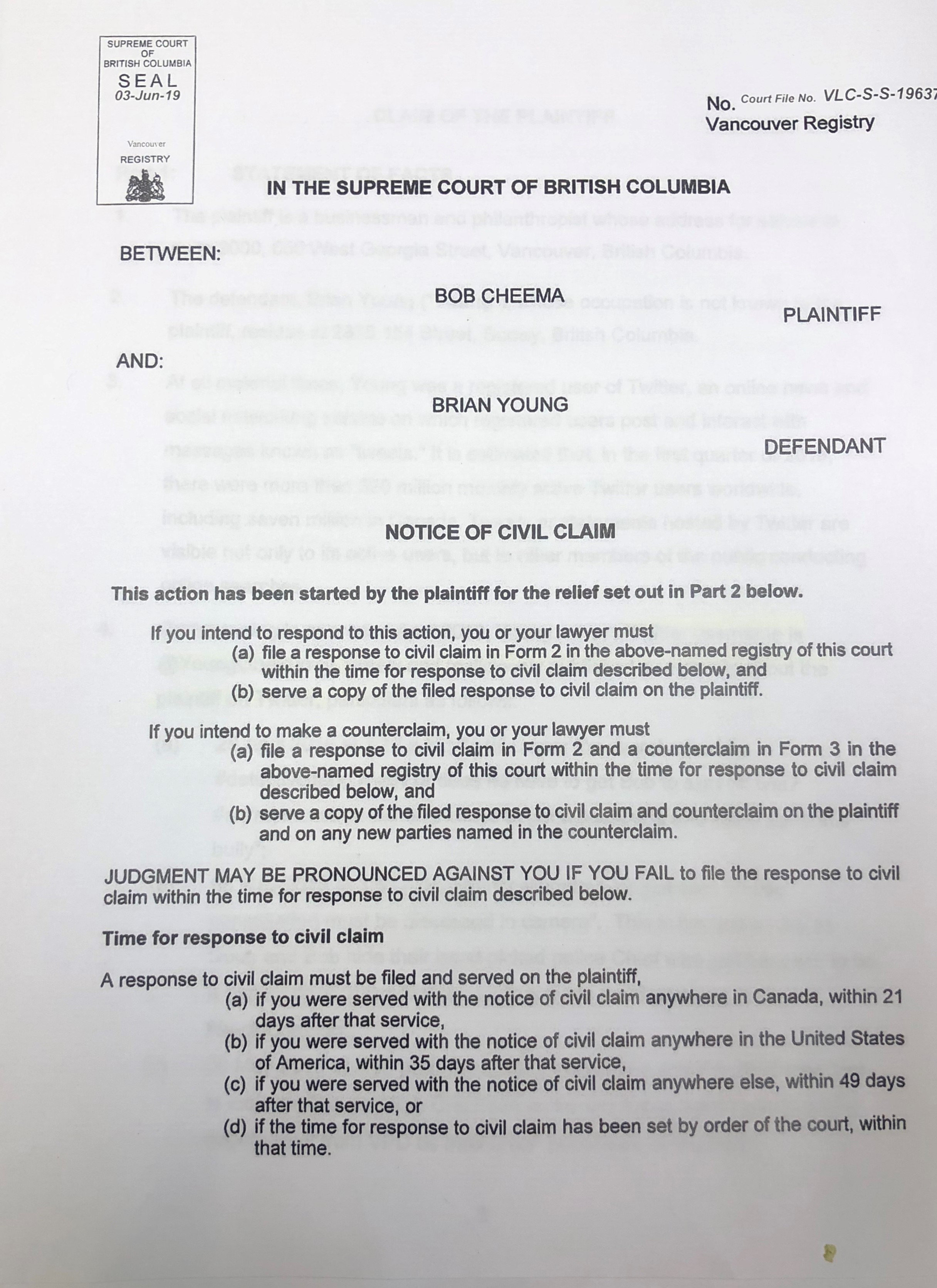 Cheema suing Young for defamation