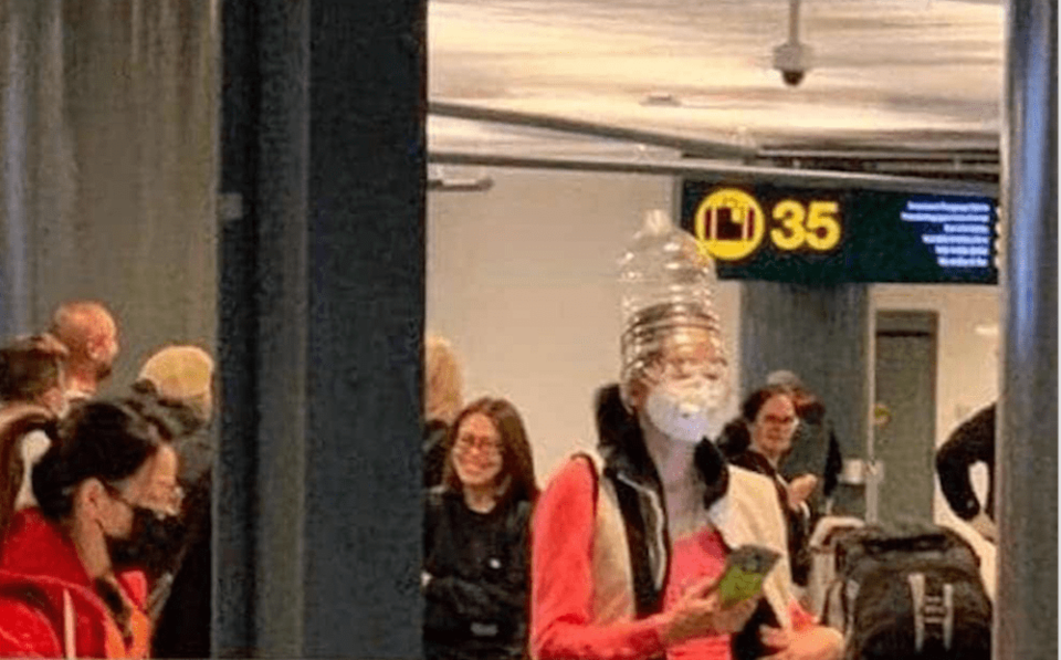 People are wearing waterjugs over their heads to protect against coronavirus