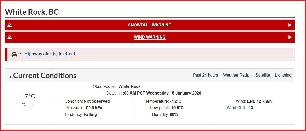 Snowfall & Wind Warnings