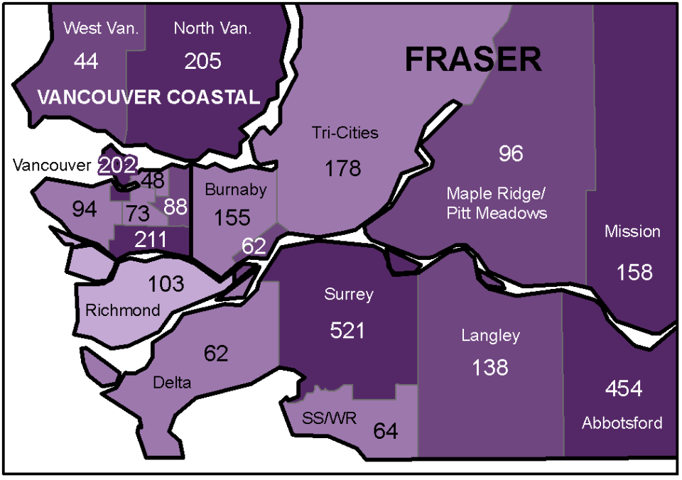 Map Shows More than 500 Cases of COVID-19 in Surrey since Pandemic Hit